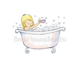 Children's Art - Bubble Blonde Bath Girl, 8x10 Illustration Print