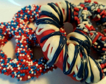 Chocolate Covered Pretzels 4th Fourth of July Patriotic Memorial Day Veterans Graduation Birthday Party Favor Red White Blue