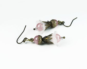 Pink Czech Glass and White Lucite Flower Earrings, Vintage Style, Antiqued Brass, Swarovski Crystals