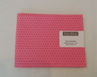 Cotton fabric patch background with red dots hot pink