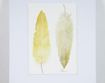 Feathers in watercolor matted 8x10