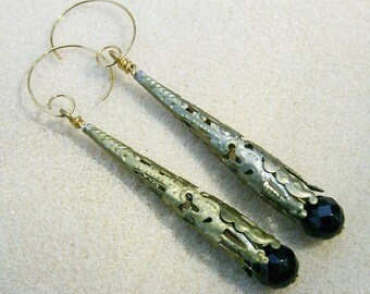 Handmade Black Earrings - Fabulous Faceted Black Faceted Beads in Brass Filigree Cones - Handmade by JewelryArtistry - E648