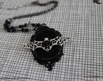 Gothic Ornate Black Cameo Necklace