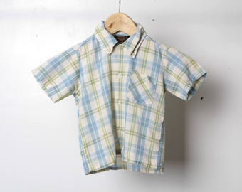60s BOYS vintage blue & white PLAID short sleeve button down faded mid century shirt 5t boys