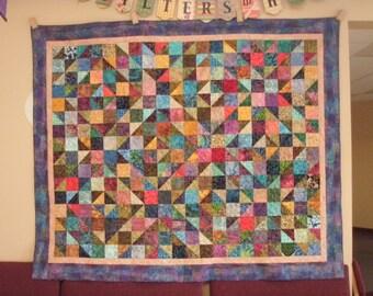 Queen Quilt Handmade Patchwork Batik Masculine Quiltsy Idaho Multicolor