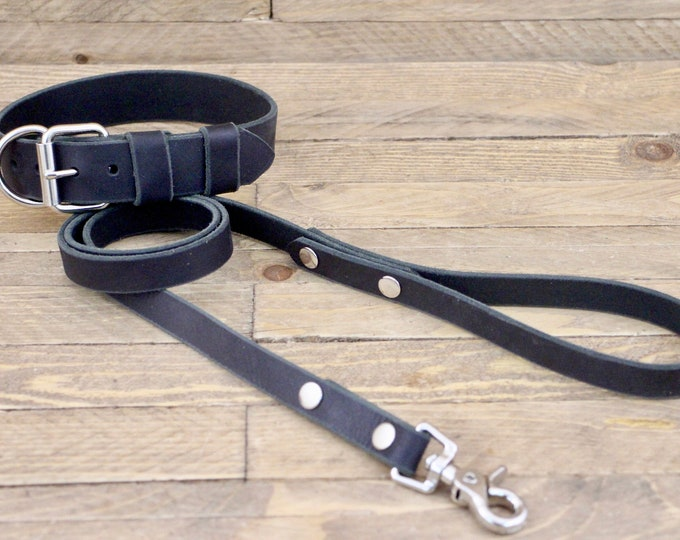Collar and leash set, FREE ID TAG,  Charcoal black, Silver hardware, Puppy collar, Dog lead, Leather collar, Gift set.