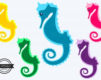 Seahorse Clipart Commercial Use Colorful digital art seahorses in yellow, green, blue, pink and purple baby shower invitations