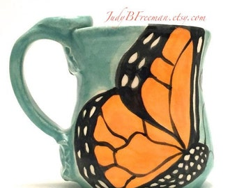 Monarch Butterfly Mug Handmade Wheel Thrown Stoneware Made to Order on Jaded or Leaf Green Holds 12 Fluid Ounces MG002