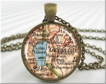 Tahoe Map Pendant, Resin Charm, Lake Tahoe Map, Carson City Nevada Charm, Picture Jewelry, Vintage Map Necklace, Round Bronze 441RB