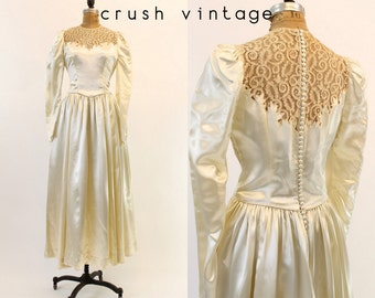 40s Wedding Dress Silk Charmeuse Medium / 1940s Lace Bridal Gown /  My Love Dress