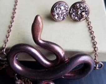 Serpent Pendant and Earring Set