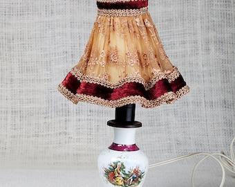 Antique Hand Painted Limoges France Porcelain Lamp,Lampshade,Vintage romantic table lamp,lighting dough night Vintage,cottage decor lamp
