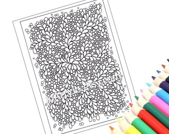 Pretty Pattern Coloring Page PDF, Inspired by the Art of Zentangle, Page 55