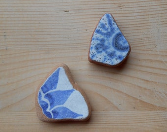 Genuine beach pottery blue  fantasy pattern, blue  white terracotta sea pottery shards  jewelry, art, crafting  2 pieces    Lotto310