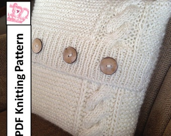 "PDF KNITTING PATTERN, Cable knit pillow cover pattern, knitted cushion pattern, 16""x 16"" pillow cover pattern"