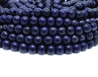 8mm Navy Blue Round Wood Beads Dyed and Waxed 15 inch strand