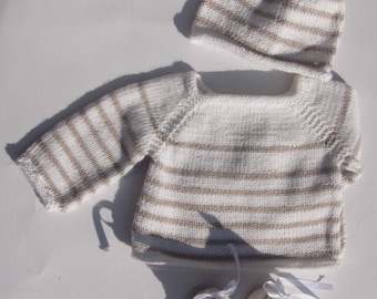"Bra ""my first sailor"" white with beige stripes and his hat in Merino 0/1 month """""