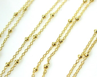 Gold Plated Chain, Gold Chain-Vermeil Sterling Silver Beaded Ball Chain,Satellite Bulk Chain by the foot-Wholesale (3 feet)SKU:101006-VM