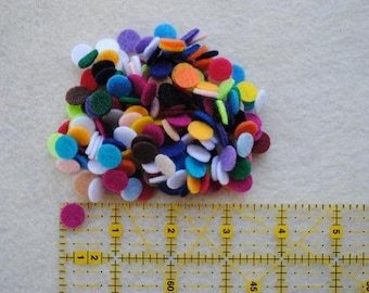 100 Die Cut Felt Mini Circles, Variety of Colors