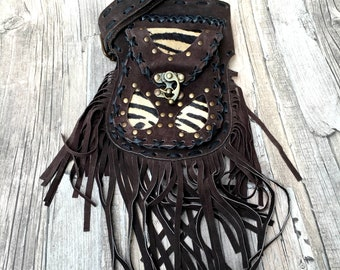 Gypsy leather Hip Bag, Fringed Festival Bag, boho fanny pack, festival fanny pack