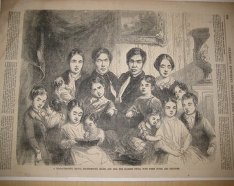 Siamese Twins Chang and Eng with Family Woodcut Print, 1853