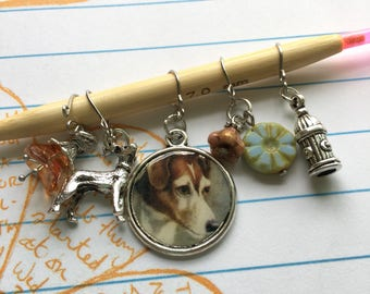 Set of 5 Handmade Stitch Markers - Cute Dog Charms and Czech Glass Beads - fit up to 7.0mm/US 10.75 needle size