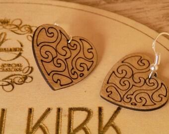 Wooden Heart Drop Earrings