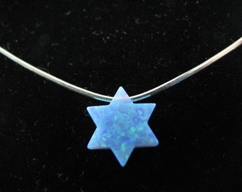 Dangling Opal Star of David Necklace on Sterling Silver Chain
