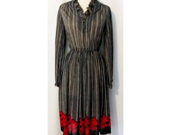 CLEARANCE! Sheer Black 80s Dress with White Stripes and Red Floral Hemline