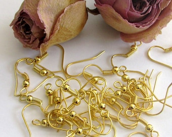 X 100 (50 pairs) Gold wire hooks