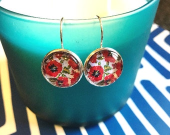 Poppies Floral glass cabochon earrings- 16mm