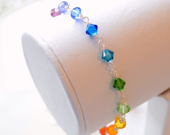 Rainbow Bracelet, Bright and Colorful, Genuine Swarovski Crystal Bicone Beads, Wire Wrapped, Adjustable Length, Silver Plated Jewelry