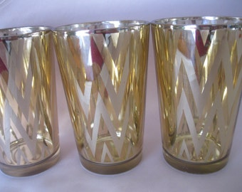 3- 4 inch Tall CEVRONGold Votive Candle holders, Wedding, Vintage inspired, Bridal Shower