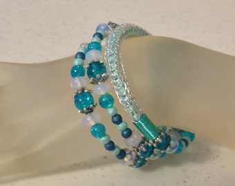 Silver and Turquoise Viking Knit Bracelet Wrap Bracelet Wraps Around 2.5 Times Fits all Sizes, One of a Kind Previously 35 Dollars ON SALE