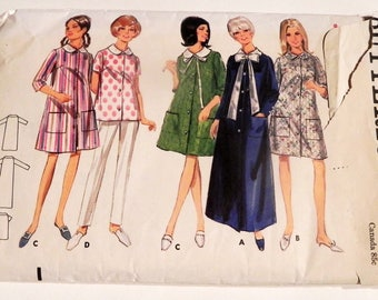 """1960s Robe Smock Housecoat Button Front Peter Pan collar vintage sewing pattern Butterick 4626 Size 16 Bust 36"""""""