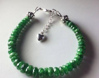 Emerald bracelet, silver and green emerald bracelet, stackable bracelet
