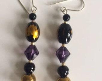 Black, gold and purple dangle drop earrings, jewellery