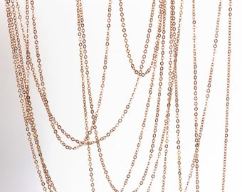 2150 Rose gold chain 1.8mm х 2mm Gold plated chain Rolo link chain Brass chain Jewelry findings Anchor chain for jewelry making 1 m.