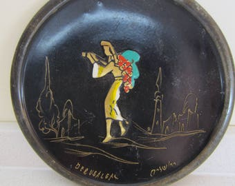 1950's Israeli Black Enamel Copper Hand Painted Plate Vintage Jerusalem Souvenir Woman with Grapes Collectibles Wall Decor Judaica