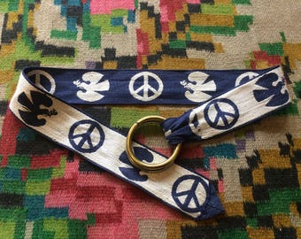 """1960s Vintage Woven Belt with Dove and Peace Sign Motif - 34"""""""