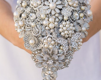 Deposit TEARDROP BROOCH BOUQUET First Payment for this Made to Order crystal silver wedding bouquet