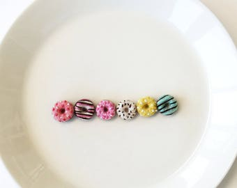 "Miniature donuts half dozen, tiny needle felted donuts, mini felt foods 5/8"" (1.5cm)"
