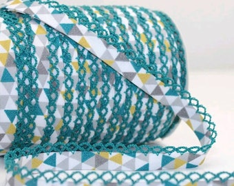Crochet Bias Tape - Teal Geometric - Double Fold Bias Tape - Clothes Binding - Lace Trim - Sewing Binding - Picot Trim - By the Yard