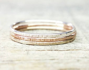 Thin Textured Stacking Ring Sterling Silver Rose Gold Yellow Gold Band