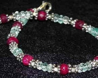 Faceted Ruby and Aquamarine Sterling Bracelet