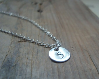 Silver Initial Charm Necklace -Small - Personalized Sterling Silver Monogram Pendant Custom Initial Disc Initial Pendant Bridesmaids