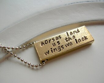 Horses Lend Us Wings Personalized Necklace for Equestrian, Horse Jewelry, Brass and Silver Plate