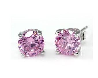 1ct pink,Jewellery,Sterling Silver, Pink Cubic Zirconia Earrings, Solitaire stud earrings, CZ earrings, silver earrings, Pink Stud Earrings