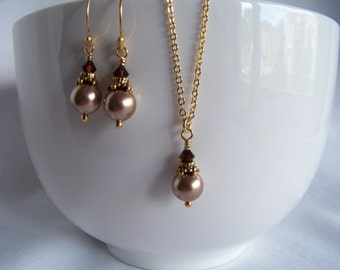 Bronze and Mocha Pearl Jewelry Set - Gold Bridesmaid Bronze Pearl Jewelry Set - Bridesmaid Gift - Mother of the Bride - Gift Ideas for Her