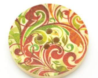 5 Floral (Design 17) Painted Wood Button Four Hole Natural Wood Colour 30mm NPB44